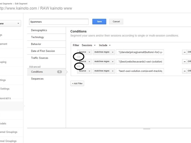 Create a spammers segment in analytics